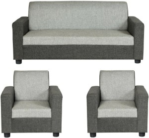 gioteak Fabric 3 + 1 + 1 Grey Sofa Set