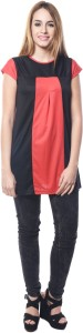 Crease & Clips Casual Cap Sleeve Solid Women's Red, Black Top
