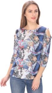 GANESH FASHION Casual 3/4th Sleeve Printed Women Blue Top
