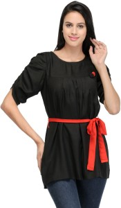 Crease & Clips Casual Short Sleeve Solid Women's Black Top
