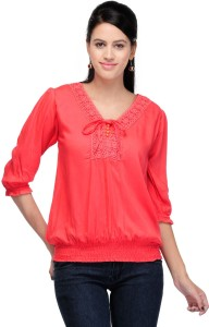 Crease & Clips Casual 3/4th Sleeve Solid Women's Red Top