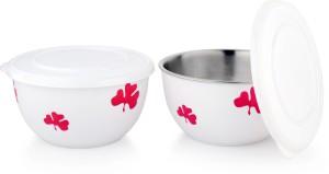 LIEFDE liefde microwave safe bowl leaf printed 13cm (set of 2) Stainless Steel Bowl Set