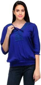 Crease & Clips Casual 3/4th Sleeve Solid Women's Blue Top