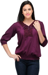 Crease & Clips Casual 3/4th Sleeve Solid Women's Purple Top