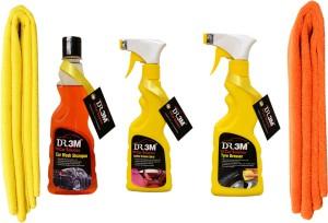 DR3M small combo kit-car wash shampoo 250ml./ Tyre dresser 250ml./ Leather dresser 250ml./ 2pc microfiber cloth. Car Washing Liquid
