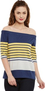 Miss Chase Casual 3/4th Sleeve Striped Women's Multicolor Top