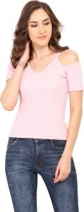 Trend Arrest Casual Half Sleeve Solid Women Pink Top
