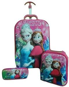 Bubble Hut Children 3D 3Pcs Trolley , Pencil case ,Shoulder(Frozen) Waterproof School Bag