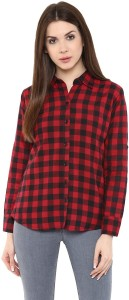Farha Women's Checkered Casual Red Shirt