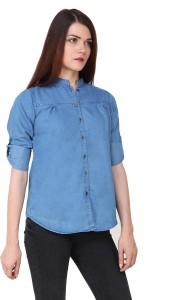 58e9fda66b6 lady bird Women s Solid Casual Denim Blue Shirt Best Price in India ...