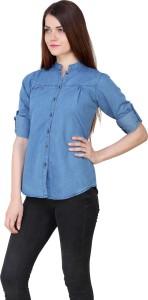 Trendyfrog Women Solid Casual Denim Blue Shirt
