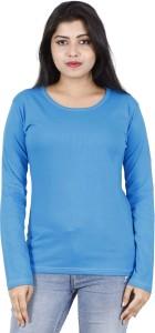 FLEXIMAA Solid Women Round Neck Blue T-Shirt