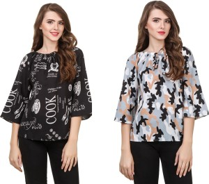 Delux Look Casual 3/4th Sleeve Solid Women Black Top