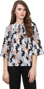 Delux Look Casual 3/4th Sleeve Printed Women Multicolor Top