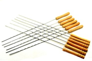 Sukot 12 PCs Metal + Wooden Handle BBQ Barbecue Skewers Meat Kabab Stick 16inch Iron Roast Fork Set