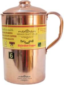 Indian Craft Villa Handmade 100% Pure Copper Jug Pitcher Volume 2.1 Liter storage drinking Water Good Health BEnefits Indian Yoga, Ayurveda Water Jug