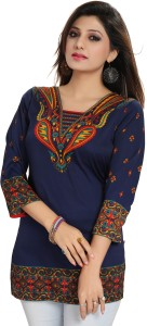 GMK Casual 3/4th Sleeve Printed Women's Blue Top
