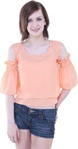 Myshka Casual Half Sleeve Solid Women Pink Top