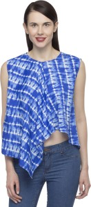 Primo Knot Casual Sleeveless Printed Women Blue Top