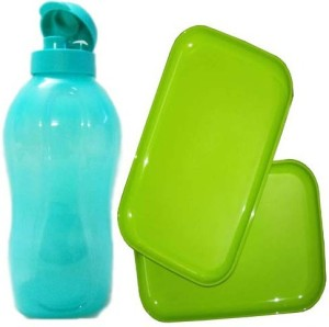 Tupperware RECTANGULAR BREAK FAST / SNACKS PLATES 2 PCS & AQUA SAFE FLIPTOP WATER 2 L Bottle