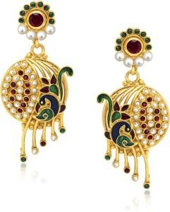 VK Jewels Fabulous Mayur Diamond Zinc Drop Earring