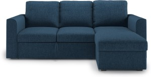 Urban Ladder Kowloon Sectional Sofa Cum Bed with Storage Double Metal, Fabric Sofa Bed