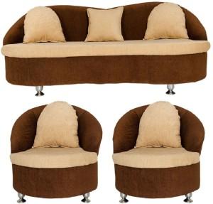 GIOTEAK Fabric 3 + 1 + 1 Cream Sofa Set