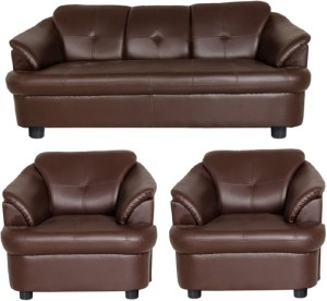 Gioteak Leatherette 3 1 Brown Sofa Set