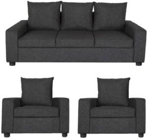 GIOTEAK Fabric 3 + 1 + 1 Black Sofa Set