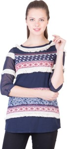 Simbha Creations Casual 3/4th Sleeve Printed Women Multicolor Top