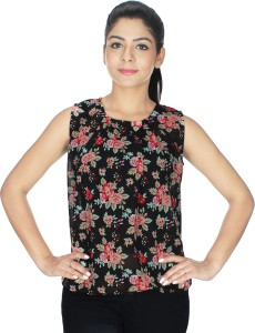 Crease & Clips Casual Sleeveless Floral Print Women's Red, Black Top