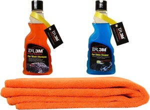 DR3M small combo kit - car Glass cleaner 250ml./ car wash shampoo 250ml./ 1pc Microfiber cloth (orange). Car Washing Liquid