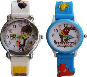 SS Traders White Ben10 And Blue Spiderman Watch  - For Boys