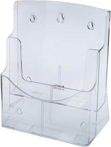 Kebica 2 Compartments Plastic A4 Size Brochure/Pamphlet Holder  StandTransparent