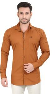 Meraki Men Solid Casual Brown Shirt