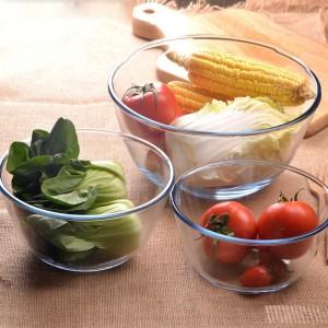 Treo Microwave safe Mixing Bowl Combo of 3 Borosilicate Glass Bowl Set