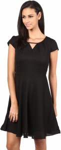 The Vanca Women Fit and Flare Black Dress