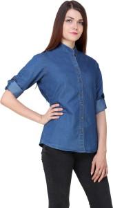 Gsa Enterprises Women's Solid Casual Denim Blue Shirt