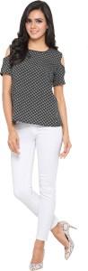 Serein Casual Short Sleeve Printed Women Black Top