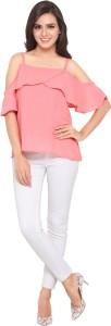 Serein Party Shoulder Strap Solid Women Pink Top