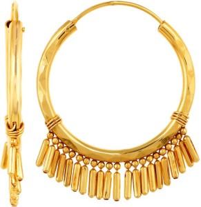 GoldNera 22Kt Gold Polish Ripple Brass Hoop Earring
