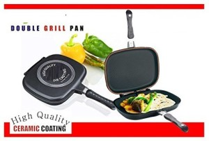 Wonder World ™ Grill Double Sided Frying Flipping Griddle Die-Cast Pan 36 cm diameter