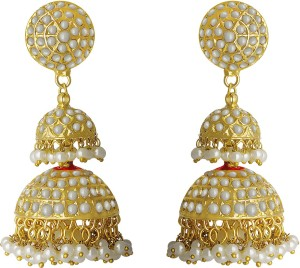 49c7cad41 Spargz Traditional Gold Plated Wedding Party Double Big Jhumka For Women Pearl  Brass Jhumki Earring Best Price in India | Spargz Traditional Gold Plated  ...