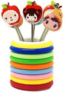 Italish Rings Designer Stand With 8 Cartoon Shape Disposable Plastic, Stainless Steel Fruit Fork Set