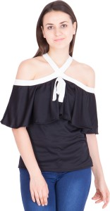 Khhalisi Casual Shoulder Strap Solid Women Black Top