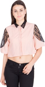 Khhalisi Casual Bell Sleeve Solid Women Pink Top