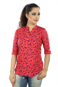 Mosho Casual 3/4th Sleeve Floral Print Women Red Top