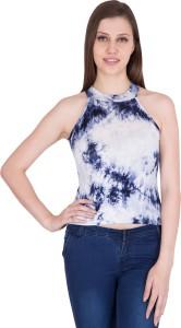 Khhalisi Casual Sleeveless Tie & Dye Women White Top