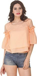 Jollify Casual Half Sleeve Solid Women Pink Top