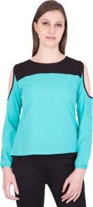 Khhalisi Casual Full Sleeve Solid Women Green Top